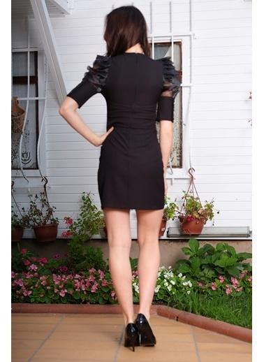 İroni Kolları Şifon Detaylı Mini Elbise Siyah